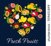 i love fresh fruits emblem in... | Shutterstock .eps vector #509651899