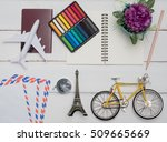 flat lay   sun glasses flower ... | Shutterstock . vector #509665669