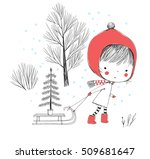 girl with christmas tree | Shutterstock .eps vector #509681647