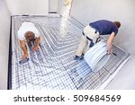 pipe fitter mounted underfloor... | Shutterstock . vector #509684569