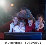 at home by night  cheerful...   Shutterstock . vector #509690971