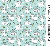pattern with cute rabbits.... | Shutterstock .eps vector #509709715