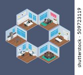 isometric office vector... | Shutterstock .eps vector #509723119