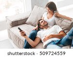 cheerful beautiful young couple ... | Shutterstock . vector #509724559