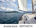 yacht in the sea sailing | Shutterstock . vector #509745274