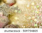 sprigs of spruce with balls on... | Shutterstock . vector #509754805