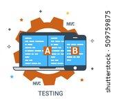 flat line infographic concept... | Shutterstock .eps vector #509759875