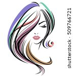 illustration of women long hair ... | Shutterstock .eps vector #509766721