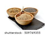 wooden bowl filled with seeds... | Shutterstock . vector #509769355
