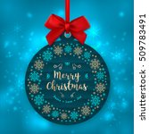 trendy christmas card round... | Shutterstock .eps vector #509783491