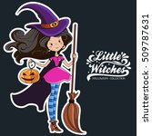 little witch. halloween witch.  | Shutterstock .eps vector #509787631