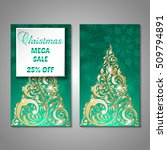 set of stylized christmas tree... | Shutterstock .eps vector #509794891