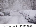parked cars covered with snow   ... | Shutterstock . vector #509797831