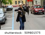 young woman walking on the city ... | Shutterstock . vector #509801575