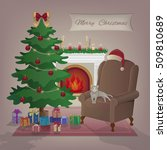 merry christmas greeting card.... | Shutterstock .eps vector #509810689