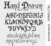 hand drawn font. old style... | Shutterstock .eps vector #509811781