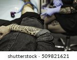close up tribal tattoo arm of a ... | Shutterstock . vector #509821621