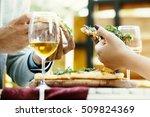 couple in an italian restaurant ... | Shutterstock . vector #509824369