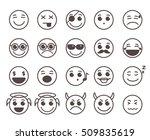 smileys faces flat line vector... | Shutterstock .eps vector #509835619