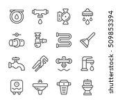 set line icons of plumbing | Shutterstock .eps vector #509853394