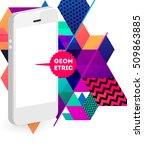 mobile phone icon with trendy... | Shutterstock .eps vector #509863885