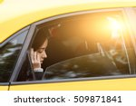 woman riding in taxi and... | Shutterstock . vector #509871841