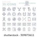 set vector line icons action... | Shutterstock .eps vector #509873611
