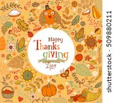 thanksgiving festive frame or... | Shutterstock .eps vector #509880211