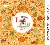 thanksgiving festive frame or... | Shutterstock .eps vector #509880211