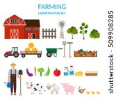 big set of vector farm elements ... | Shutterstock .eps vector #509908285