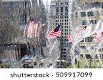 american flag through waterfall
