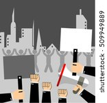 hand with megaphone and stop...   Shutterstock .eps vector #509949889