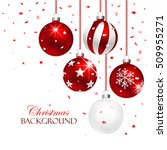 red christmas balls with... | Shutterstock .eps vector #509955271
