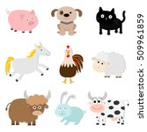 farm animal set. pig  cat  cow  ... | Shutterstock . vector #509961859