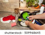 dirty dishes in the sink after... | Shutterstock . vector #509968645