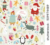 christmas seamless pattern with ... | Shutterstock .eps vector #509974489