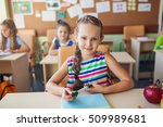 happy children sitting in class ... | Shutterstock . vector #509989681