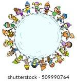 many kids holding hands in... | Shutterstock . vector #509990764