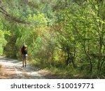 Tourist Hiking In A Picturesqu...
