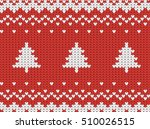 knitted seamless  red christmas ... | Shutterstock .eps vector #510026515