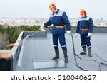 flat roof installation. heating ...   Shutterstock . vector #510040627