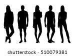 black and white silhouette of a ... | Shutterstock . vector #510079381