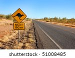 Kangaroo warning sign in central Australia - stock photo
