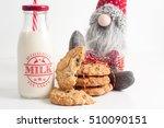 cookies and bottle of milk for... | Shutterstock . vector #510090151