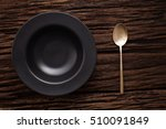 black empty bowl spoon on...   Shutterstock . vector #510091849