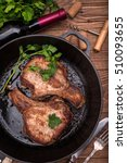 grilled pork chop with spices... | Shutterstock . vector #510093655