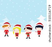 christmas children with snow... | Shutterstock .eps vector #510116719