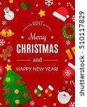 merry christmas poster. vector... | Shutterstock .eps vector #510117829