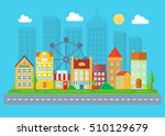 urban and village landscape.... | Shutterstock .eps vector #510129679