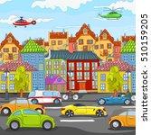 hand drawn cartoon of street in ...   Shutterstock . vector #510159205
